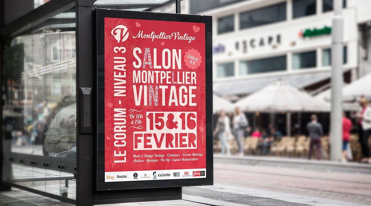 creation affiche vintage montpellier
