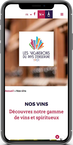 creation site mobile vente vins