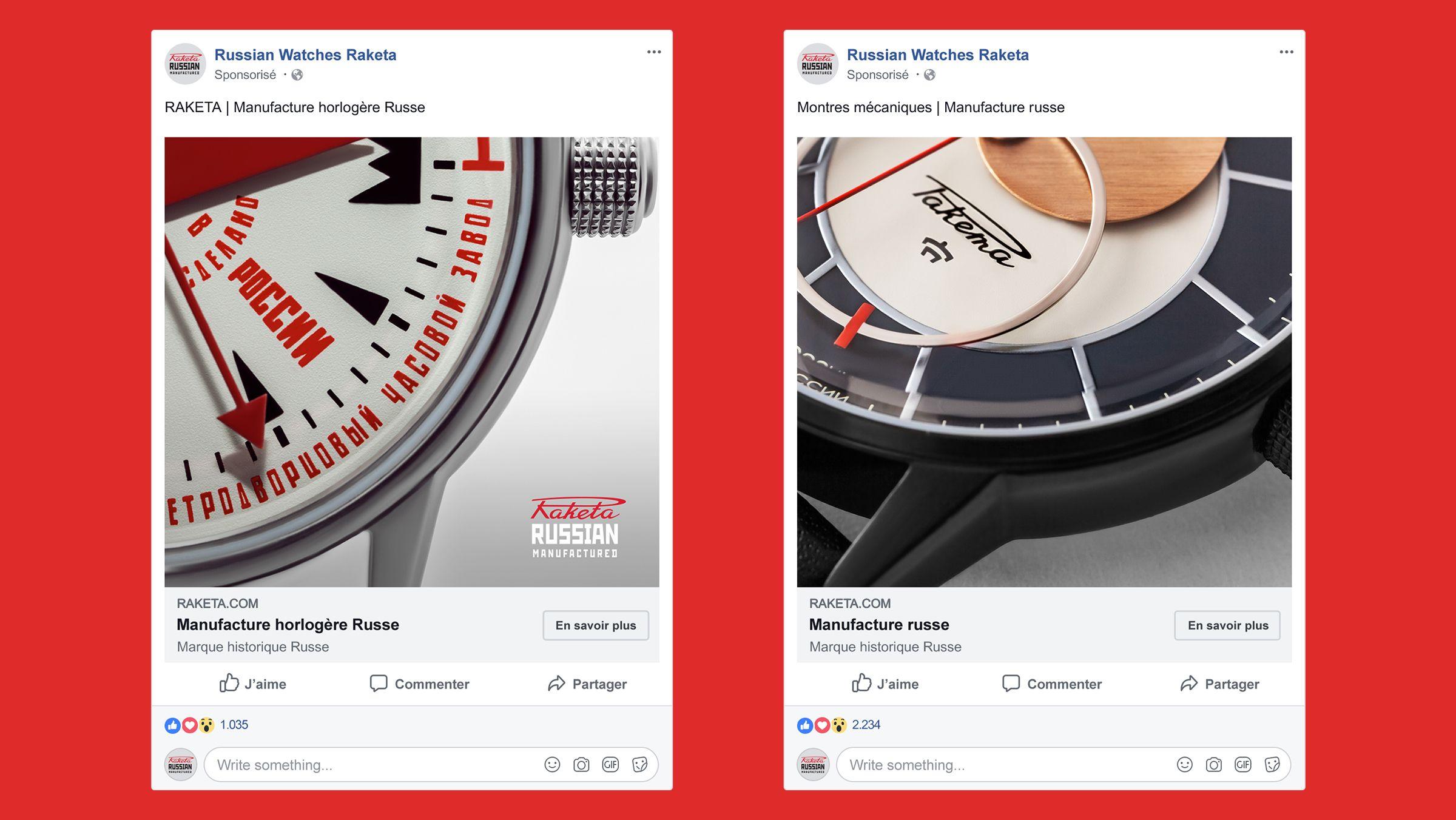 publicite facebook sponsorisee horlogerie