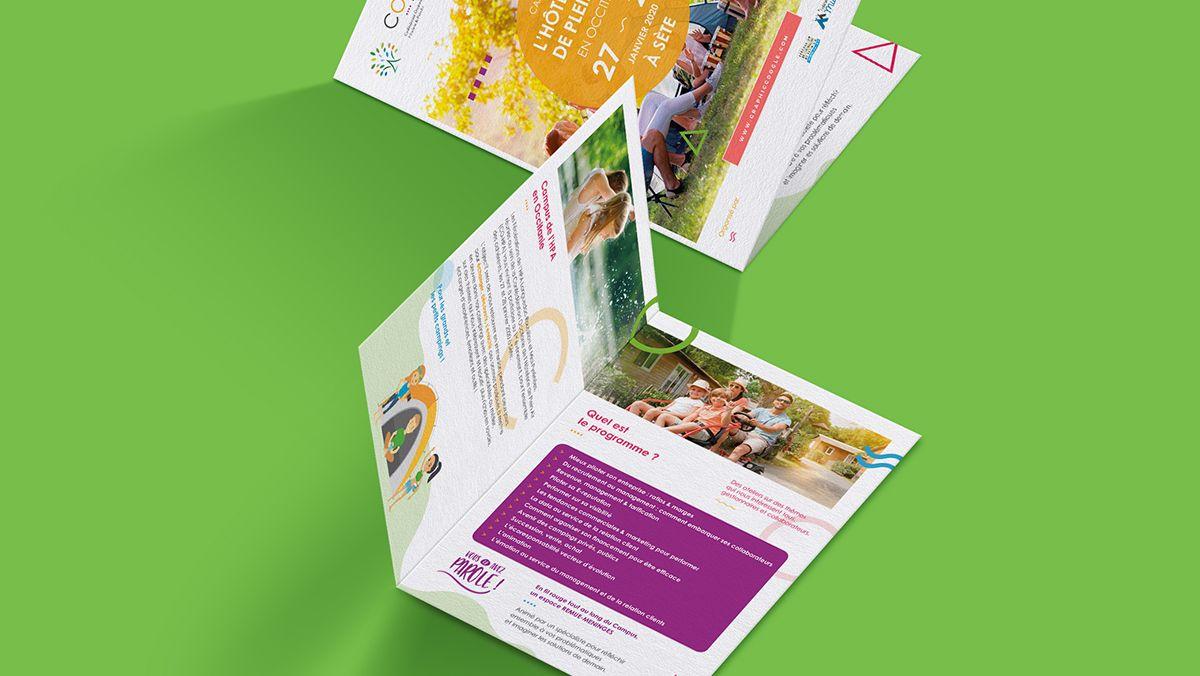 conception brochure hotellerie de plein air