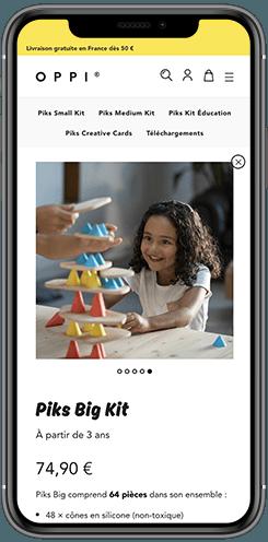 creation site mobile ecommerce jouets pour enfants